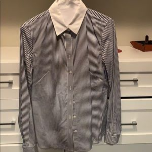 Banana republic blue and white stripped button up